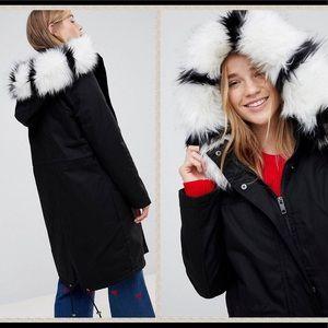 NWT faux fur longline parka coat (retails $278!!)